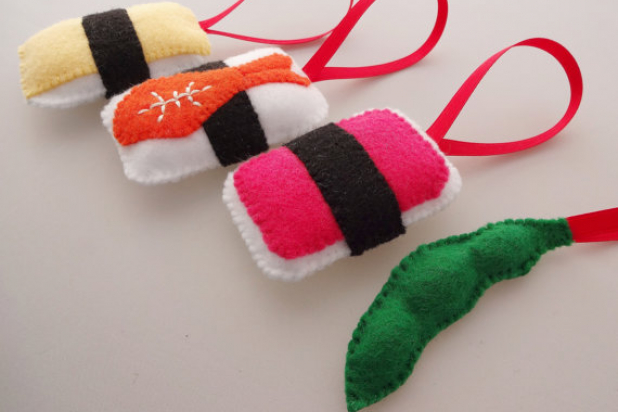 handmade christmas ornaments felt sushi handmade christmas ornaments - Handmade Felt Christmas Decorations
