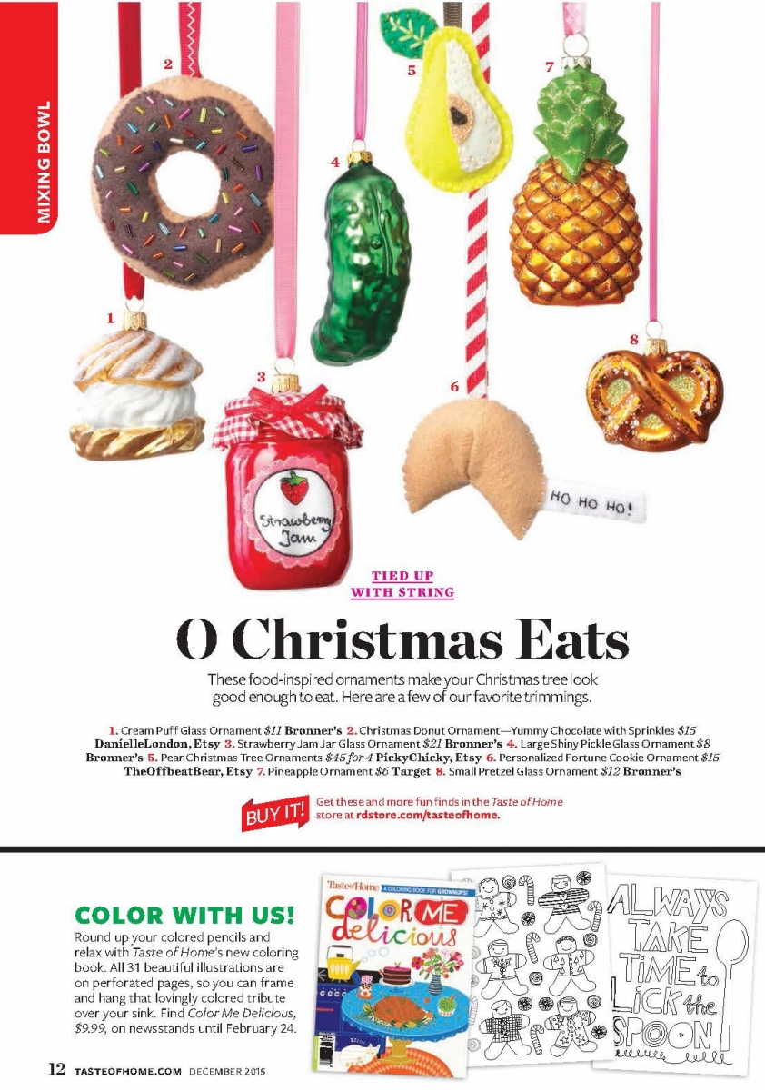 Collection Of Food Inspired Christmas Ornaments For The Holidays Im Happy To Say That My Yummy Chocolate Donut Ornament Was Featured In This Display